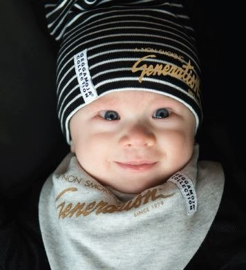 [Nordic children's clothing] infant organic cotton striped hat hot gold LOGO black / white