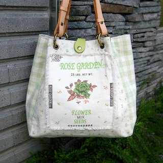 Rural wind grass green plaid shoulder bag - exclusive hand-made hand-finished