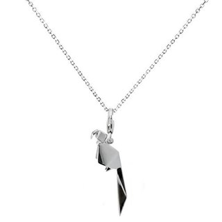 Origami parrot fairy Honey Silver Necklace