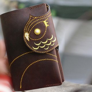 B6 brown leather PDA notebook owl Planner Cover case 141227