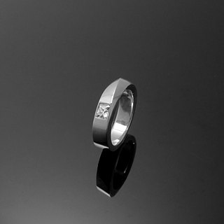 Handmade / 5mm square single drill personalized ring on the ring / 925 silver