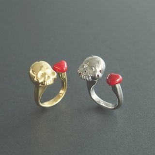 Love and Death Ring with skull and a pretty little red heart