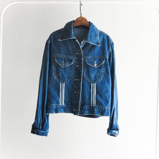 River Water Mountain - quilted wool stitching leather lapel thin pound denim jacket