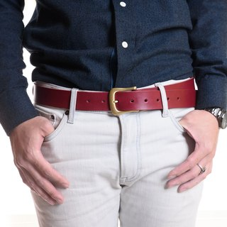*New Year I'm Feeling Lucky*handmade leather men's - Italian vegetable-tanned saddle leather belt - maroon