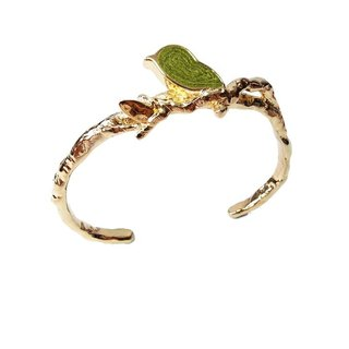 Handmade Green Bird Cuff Bangle in Metal