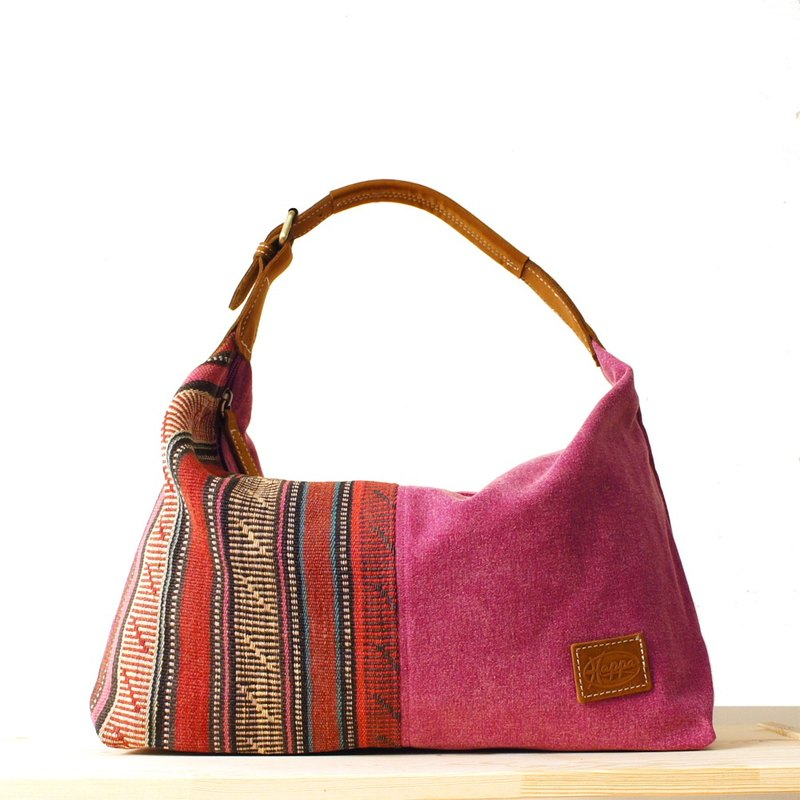 [Happa] youthful invincibility soft shoulder backpack (in) - Hand knotted kilim paragraph (Raspberry Raspberry powder)