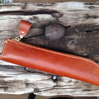 Meniscus leather pencil case // Caramel color custom birthday school stationery gift