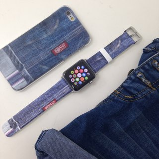 Apple Watch Series 1, Series 2 and Series 3  - Faux Blue Jean Printed on Genuine Leather for Apple Watch Strap Band 38 / 42 mm - 22