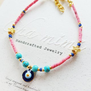 Cha mimi. From the Aegean Sea. Greece blue evil eye natural stone charm bracelet - pink peach