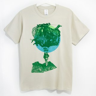 Men Fitted cotton illustration Tee / Travel T - Lonely Planet (beige)