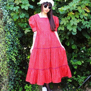 F1077 (Vintage) red floral vintage cotton short-sleeved dress (wedding / picnic / party)