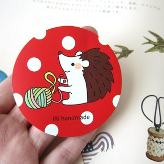 Woven wool small hedgehog dot sticker