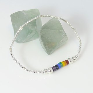 [Rainbow] ColorDay silver bracelet natural stone (agate amazonite _ _ _ Topaz Jin Sibi _ Purple)