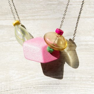 / Simple sense / French mouth-blown transparent glass ball wooden necklace - a sense of childlike colorful world