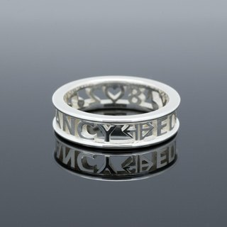 Customized Initial Ring Ring simple round frame narrow version