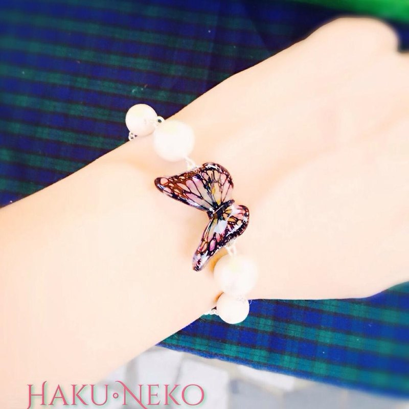 * Haku‧Neko * painted butterfly Great Cotton Pearl Bracelet