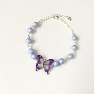 * Haku‧Neko * Romantic Purple pattern Green Swallowtail Butterfly Bracelet
