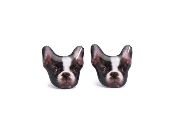 French black and white dog earrings tiger A025ER-D54
