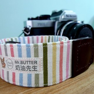 Camera strap. Rainbow striped cotton handmade