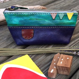 Sailboat shaped vegetable tanned leather pencil case / Pen pouch - Mint blue color
