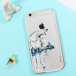 Polar bear scolding SKRIK (transparent model) [iPhone transparent phone case/accessories - (i6plus, i6splus, i6+) - replaceable back plate - metal frame TPU double thin light