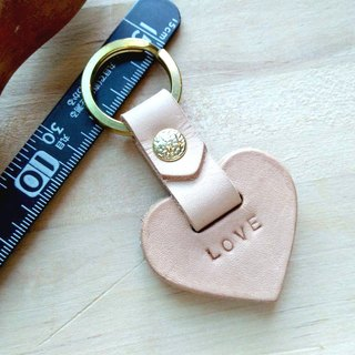 [Handsome] collar hand-made leather love leather key ring (Free print services)