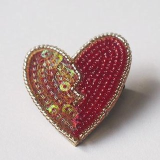 heart brooch red