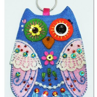 Owl Card Case - Blue Pink