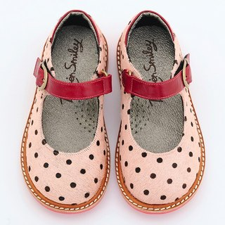 Beven Smiley. MIT children full leather Mary Jane doll shoes (horsehair paragraph - Pink) polka dot handmade shoes