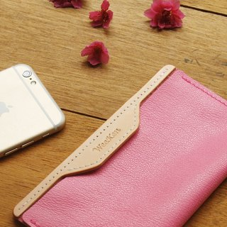weekenlife - Leather Phone Case for iPhone 6/7/8 ( Custom Name ) - Peach Pink