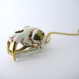 Realistic Saber tooth pendant in brass and oxidized antique color ,Rocker jewelry ,Skull jewelry,Biker jewelry