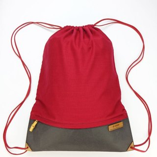 After the beam port backpack tote bag (black x red) [bamboo] [Green] [natural decomposition]