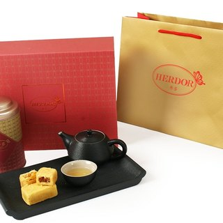 Gift tea with pastries - Midsummer Night's Dream (Sun Moon Lake ruby ​​black) tea powder 45g + pineapple cake gift tea] [HERDOR