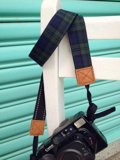 Clare Cloth Handmade _ classic college style blue and green check camera straps