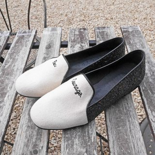 [M Shoes. Then stride. ] French fashion stitching loafers - shining blue-black