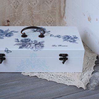 Blue and white porcelain style wooden oil wood box 15ml 50 grid essential oil wooden box