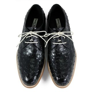 Larch M1125 Black Ostrich leather Derby shoes