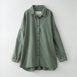 【Botanical dyed】 Olive dyed long sleeve drop shoulder shirt
