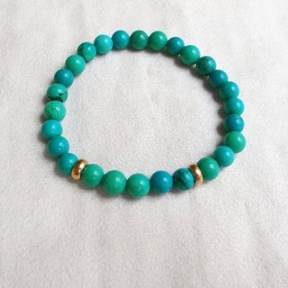 ☽ Qi Xi hand for ☽ [07275] turquoise bead bracelet with brass stopper