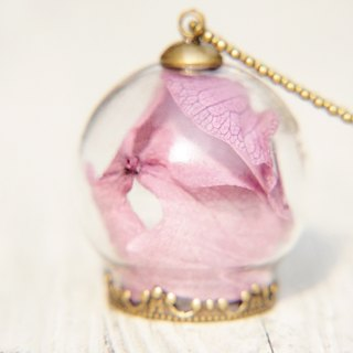 Valentine's Day / Forest Department / translucent glass ball dried flower necklace - Romantic purple flowers