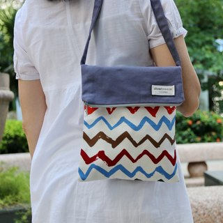 Silverbreeze ~ Crossbody bag / shoulder bag / travel bag with zipper ~ Colourful chevron