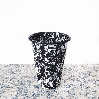 Enamel glass - black and white marble