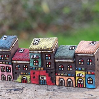 Colorful Village - Hand-painted fairy tale small pottery house - colorful rain cover / 5 pieces of purchase / order orders