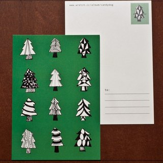 Christmas tree green models & Red subsection (Christmas postcard)