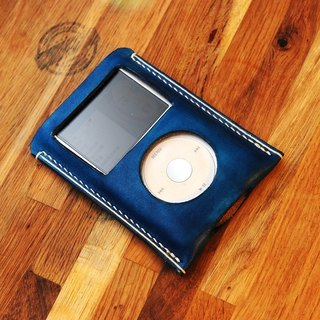 罐手制 手工染藍色義大利植鞣革 MP3 ipod classic ipc皮套