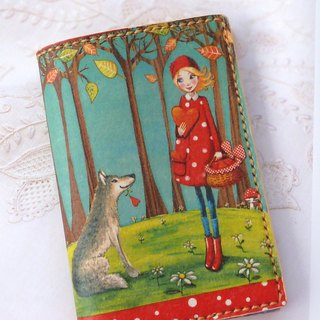 Little Red Riding Hood handmade leather passport cover