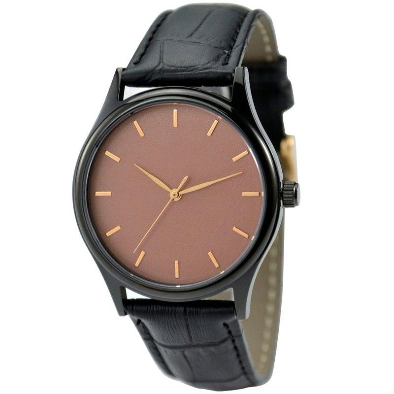 黑色簡約手錶-玫瑰金釘-玫瑰金面-全球免運