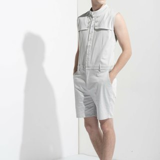 Sevenfold * Stand Collar Flap Jumpsuit (Light Gray) Collar flap coveralls pants (light gray)