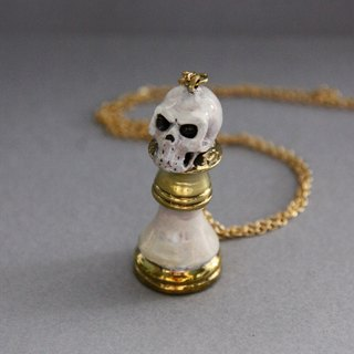 Skull Bishop Chess Hand-Painted Color and Golden Necklace / Pendant