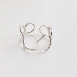 "Ring : Silver 950 Square and circle design ""flexile""<unisex> US size 5-10"